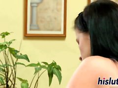 Petite raven-haired minx rides a big shaft