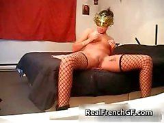 Sexy masked brunette massaged her cunt part3