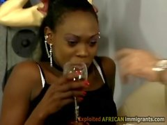 Hot African babe teases white perv