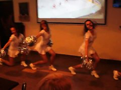Hot cheerleaders in tiny white outfits entertain bar custom