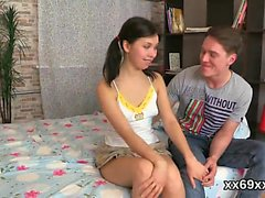Man assists with hymen checkup and riding of virgin nympho