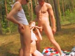 Amateur italian threesome in the forest