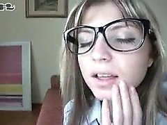 Sensuous blonde schoolgirl with glasses fully enjoys a roug
