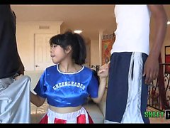 2 Big Black Cocks 1 Tiny Asian Teen Cheerleader May Lee