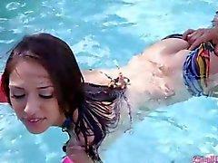 Sexy bikini teen Sara Luvv fucked by a big cock outdoors