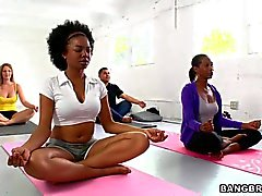 Busty Persia Pele seduces her young yoga student