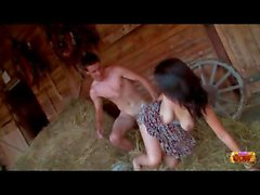 Teen giving a blowjob at the horse stables