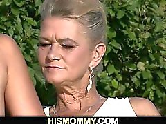 Naughty granny toying her son's GF