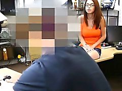 Big boobs amateur girl in glasses pawns her pussy and fucked