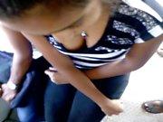 sri lankan beautiful teen bus girl showing her big boobs