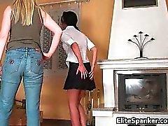 Nasty sexy school teen brunette gets her