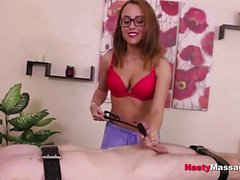 Nerdy babe gives great cock massage