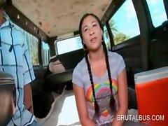 Cute amateur teen gets slutty on the sex bus floor