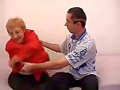 Chubby Mature fucks a guy with funny haircut