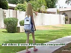 Kennedy awesome blonde babe flashing tits and posing in the great outdoor