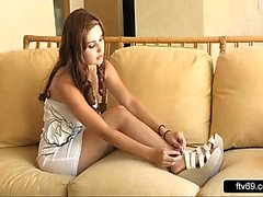 Horny teen in high heels hot foot fetish solo masturbation video