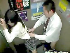Schoolgirl Getting Her Hairy Pussy fucked in an elevator