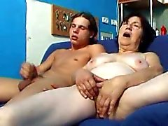 Horny granny and young man fuck hard