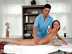 Massaging babe's smooth a-hole