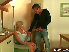 Mom gets to suck son-in-law's cock