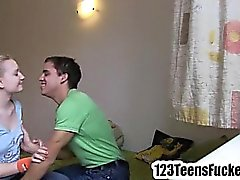 Small tit blonde teen in foreplay