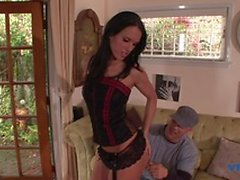 Sexy babe enjoys as she sucks a huge hard cock then gets banged