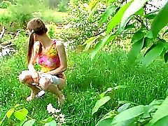 Huuuuge vegetable in girl pussy outdoor