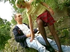 Hot young german couple fucking hard outdoors in the park