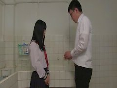 School-girl sucks cock of her professors in her school