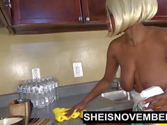 Sheisnovember Topless Mopping In Kitchen & Upskirt Ebony Ass