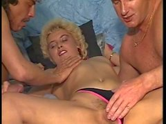 Threesome with a young gorgeous blonde babe