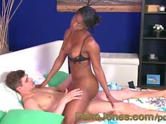 DaneJones Stunning black babe teases and pleasures young stud