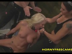Teen Gagged And Fucked By Two Hot Mistress