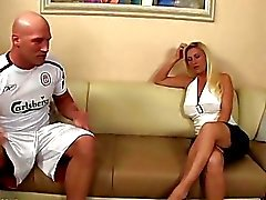 Busty blonde MILF bitch sucks young studs huge boner