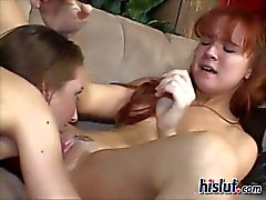 Redhead Hailey seduced her skinny friend Annabelle