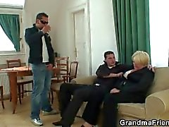 Two buddies bang drunk old whore