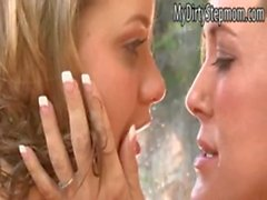 Mia and stepmom Brandi kiss and licking