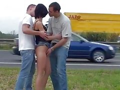 Petite teen girl busy street PUBLIC gangbang threesome with 2 guys