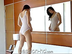 Passion HD babe blows guy after she masturbates
