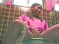 Black teen caught masturbating on the toilet. hidden cam