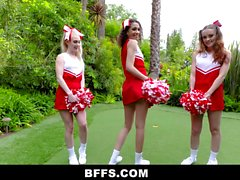 BFFS - Gorgeous Cheerleaders Tag Team Coach's Big Dick