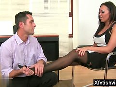 Brunette secretary foot and cumshot