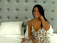 Tanned teen beauty sucks and fucks on cam for some hard cash