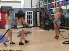 Half naked teens get kinky in the gym