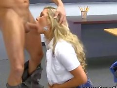 Teen high school blonde sucks teachers cock