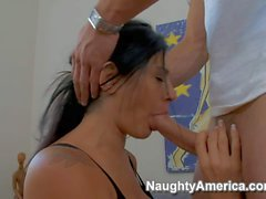 Heavy chested Raylene sucks and rides young Danny Mountain