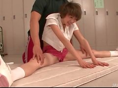Flexible Japanese teen bends her body solo