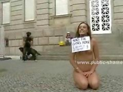 Tall babe dressed in office suit undressed on the streets and disgraced in public by kinky man