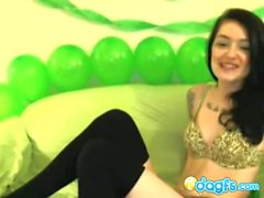 Irish emo hottie drinking beer on st patricks day and webcam chatting