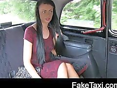 Young girl with tattoos in backseat creampie